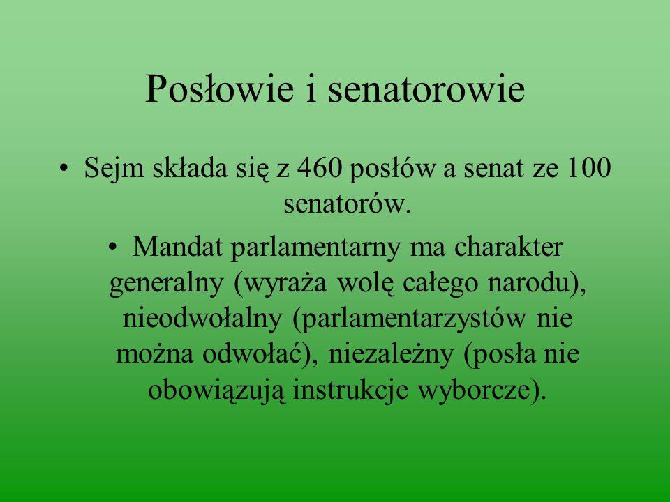 Posłowie i senatorowie Sejm składa się z 460 posłów a senat ze 100 senatorów.