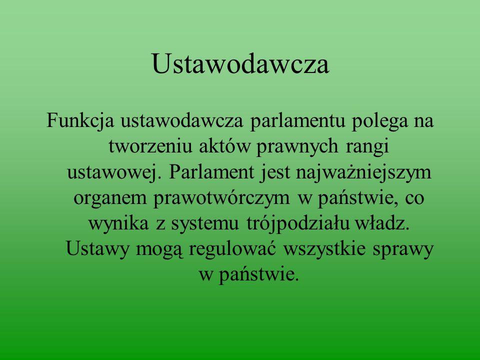 Ustawodawcza Funkcja ustawodawcza parlamentu polega na tworzeniu aktów prawnych rangi ustawowej.