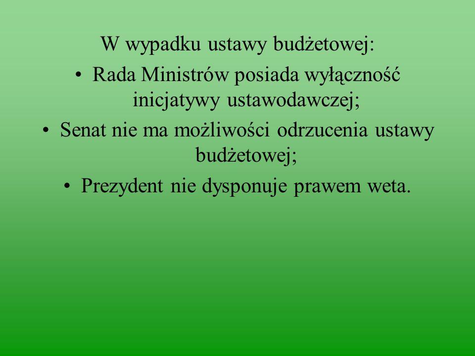 W wypadku ustawy budżetowej: Rada Ministrów posiada wyłączność inicjatywy ustawodawczej; Senat nie ma możliwości odrzucenia ustawy budżetowej; Prezydent nie dysponuje prawem weta.