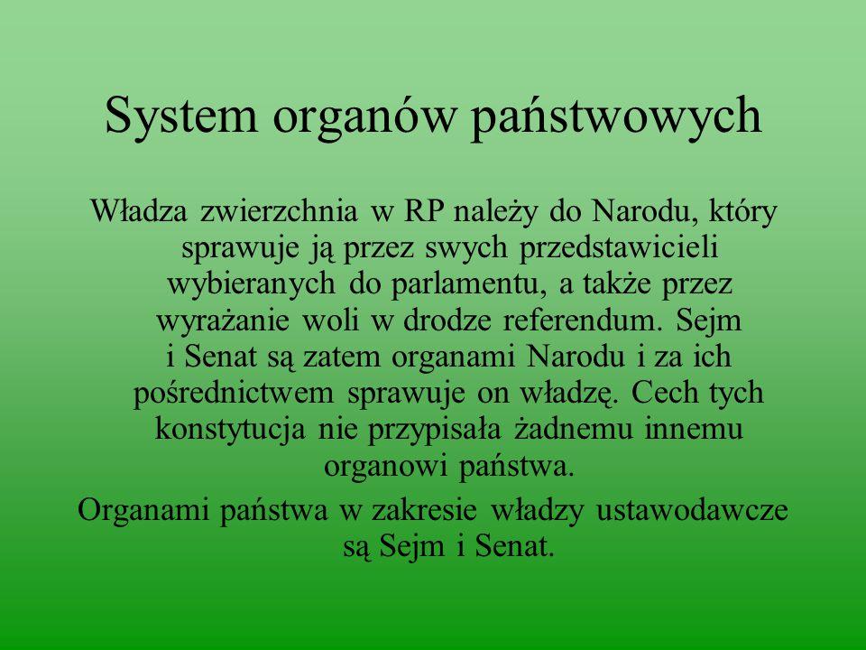System organów państwowych Władza zwierzchnia w RP należy do Narodu, który sprawuje ją przez swych przedstawicieli wybieranych do parlamentu, a także przez wyrażanie woli w drodze referendum.