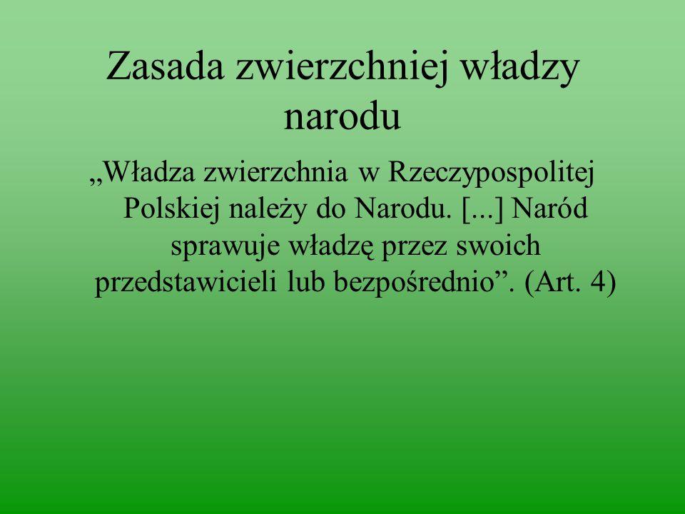 """Zasada zwierzchniej władzy narodu """"Władza zwierzchnia w Rzeczypospolitej Polskiej należy do Narodu."""