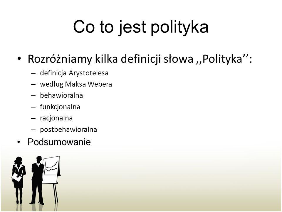 Co to jest polityka Rozróżniamy kilka definicji słowa,,Polityka'': – definicja Arystotelesa – według Maksa Webera – behawioralna – funkcjonalna – racjonalna – postbehawioralna Podsumowanie