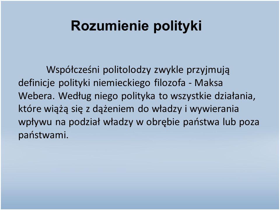 Współcześni politolodzy zwykle przyjmują definicje polityki niemieckiego filozofa - Maksa Webera. Według niego polityka to wszystkie działania, które