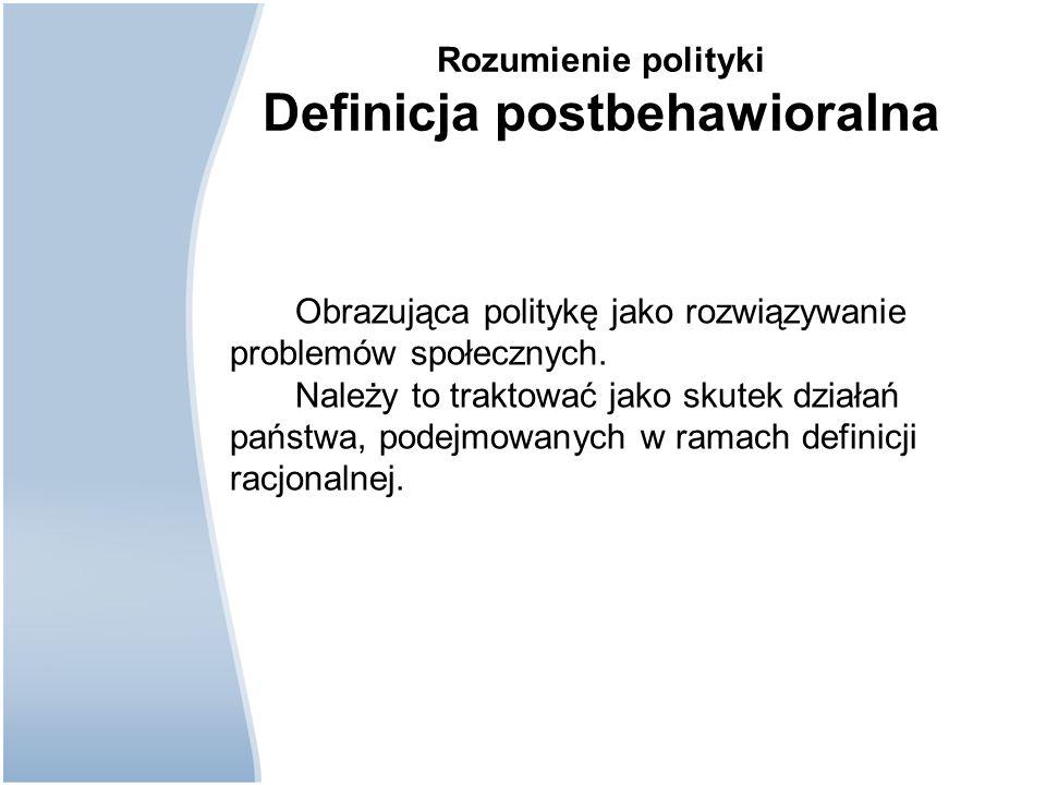 Rozumienie polityki Definicja postbehawioralna Obrazująca politykę jako rozwiązywanie problemów społecznych. Należy to traktować jako skutek działań p