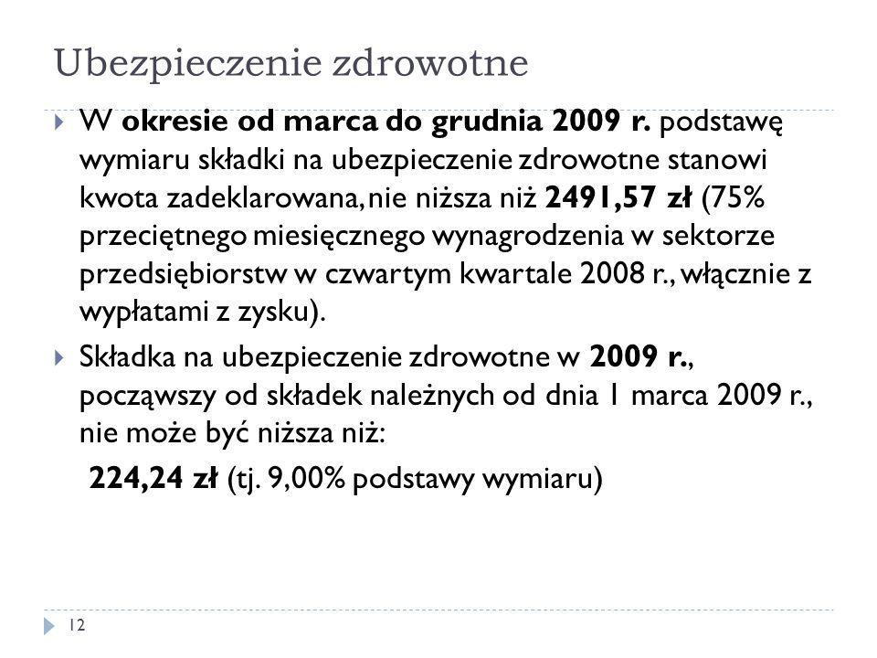 Ubezpieczenie zdrowotne  W okresie od marca do grudnia 2009 r.