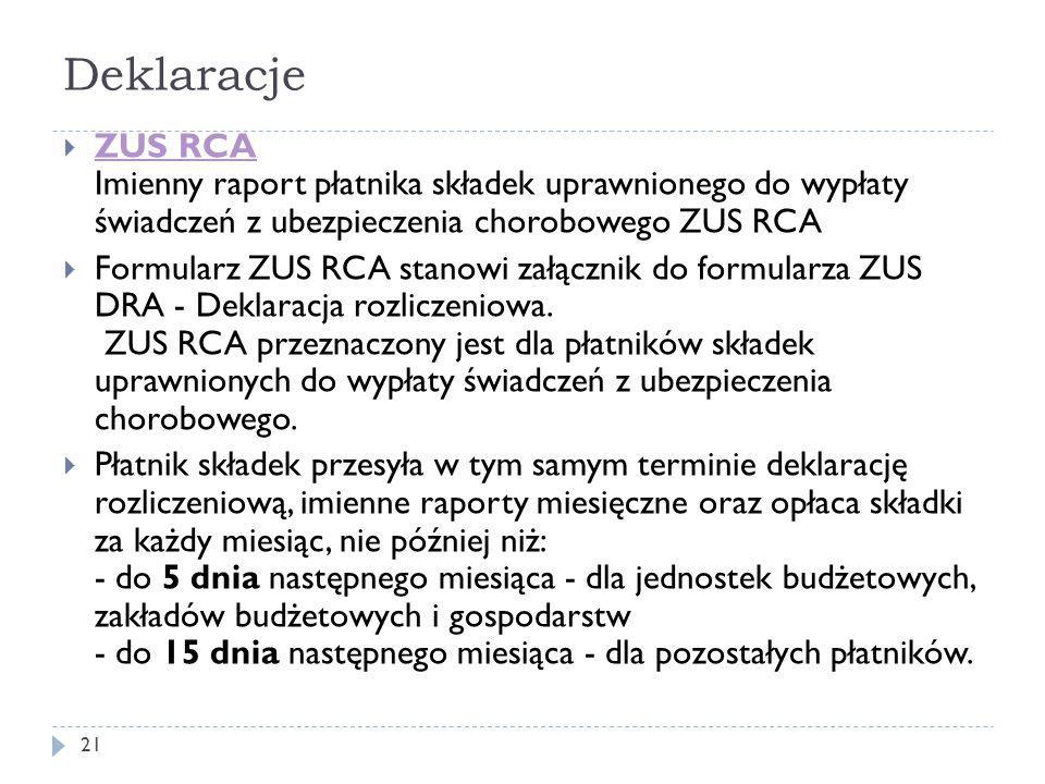 Deklaracje  ZUS RCA Imienny raport płatnika składek uprawnionego do wypłaty świadczeń z ubezpieczenia chorobowego ZUS RCA ZUS RCA  Formularz ZUS RCA stanowi załącznik do formularza ZUS DRA - Deklaracja rozliczeniowa.