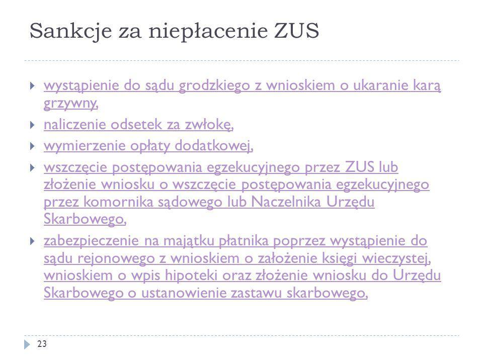 Sankcje za niepłacenie ZUS  wystąpienie do sądu grodzkiego z wnioskiem o ukaranie karą grzywny, wystąpienie do sądu grodzkiego z wnioskiem o ukaranie