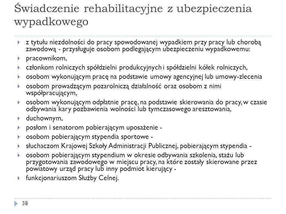 Świadczenie rehabilitacyjne z ubezpieczenia wypadkowego  z tytułu niezdolności do pracy spowodowanej wypadkiem przy pracy lub chorobą zawodową - przy