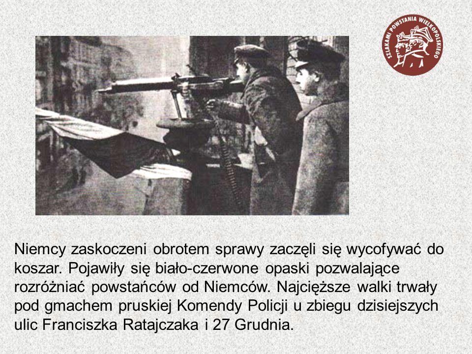 Niemcy zaskoczeni obrotem sprawy zaczęli się wycofywać do koszar. Pojawiły się biało-czerwone opaski pozwalające rozróżniać powstańców od Niemców. Naj