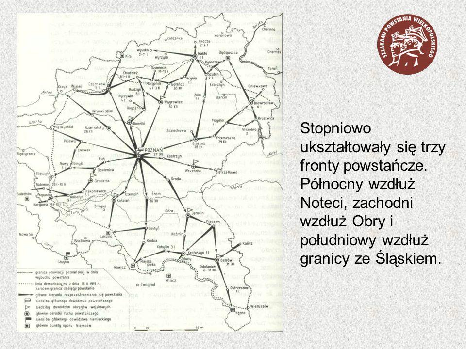 Stopniowo ukształtowały się trzy fronty powstańcze. Północny wzdłuż Noteci, zachodni wzdłuż Obry i południowy wzdłuż granicy ze Śląskiem.