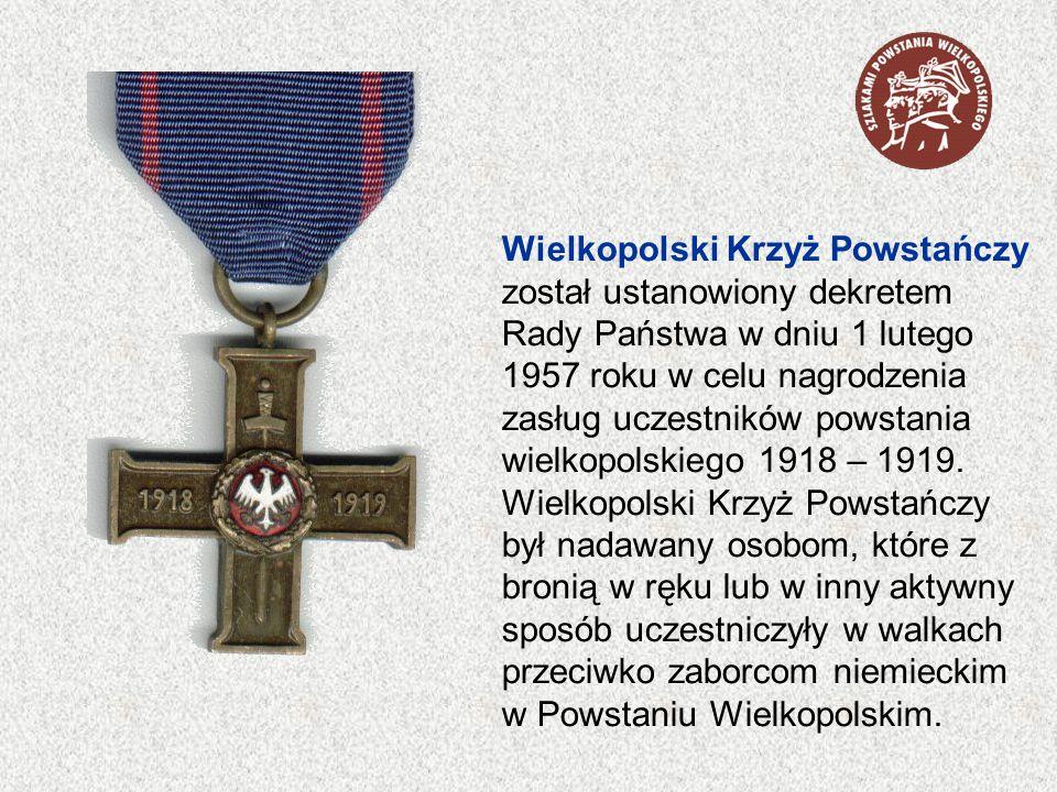 Wielkopolski Krzyż Powstańczy został ustanowiony dekretem Rady Państwa w dniu 1 lutego 1957 roku w celu nagrodzenia zasług uczestników powstania wielk