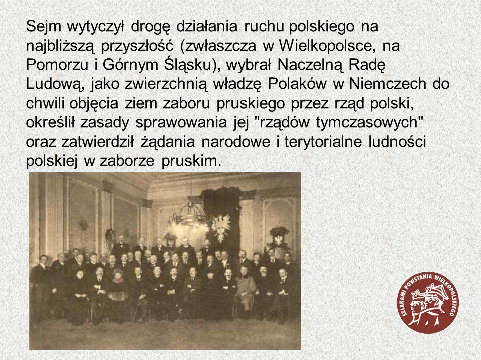 Sejm wytyczył drogę działania ruchu polskiego na najbliższą przyszłość (zwłaszcza w Wielkopolsce, na Pomorzu i Górnym Śląsku), wybrał Naczelną Radę Lu
