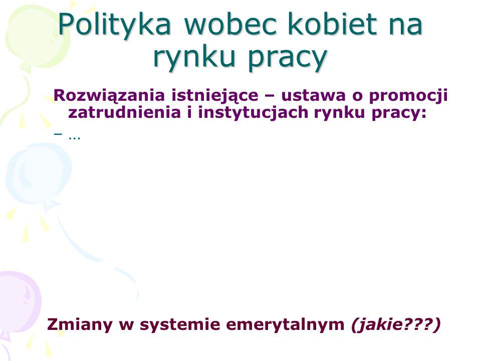 Polityka wobec kobiet na rynku pracy Rozwiązania istniejące – ustawa o promocji zatrudnienia i instytucjach rynku pracy: –… Zmiany w systemie emerytal