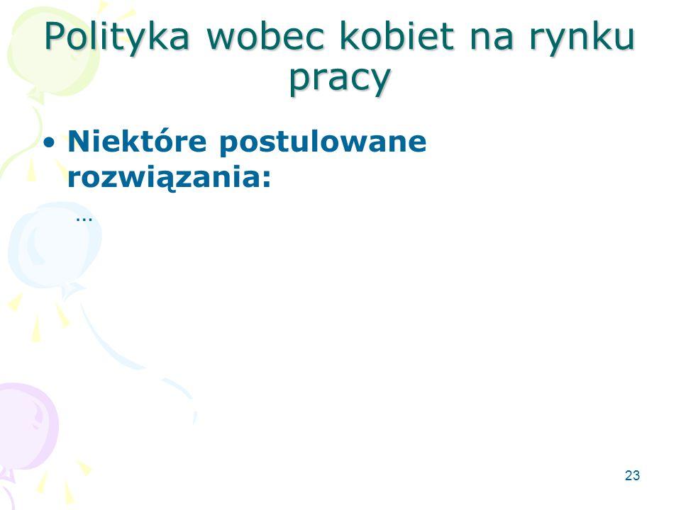 23 Polityka wobec kobiet na rynku pracy Niektóre postulowane rozwiązania: …