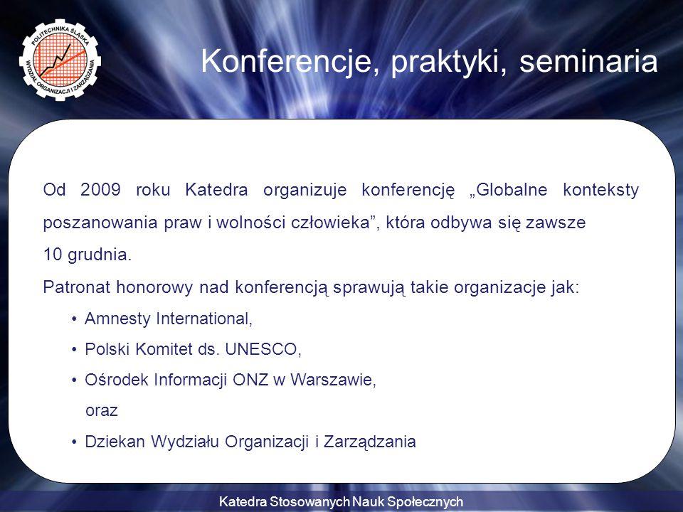 """Katedra Stosowanych Nauk Społecznych Konferencje, praktyki, seminaria Od 2009 roku Katedra organizuje konferencję """"Globalne konteksty poszanowania pra"""