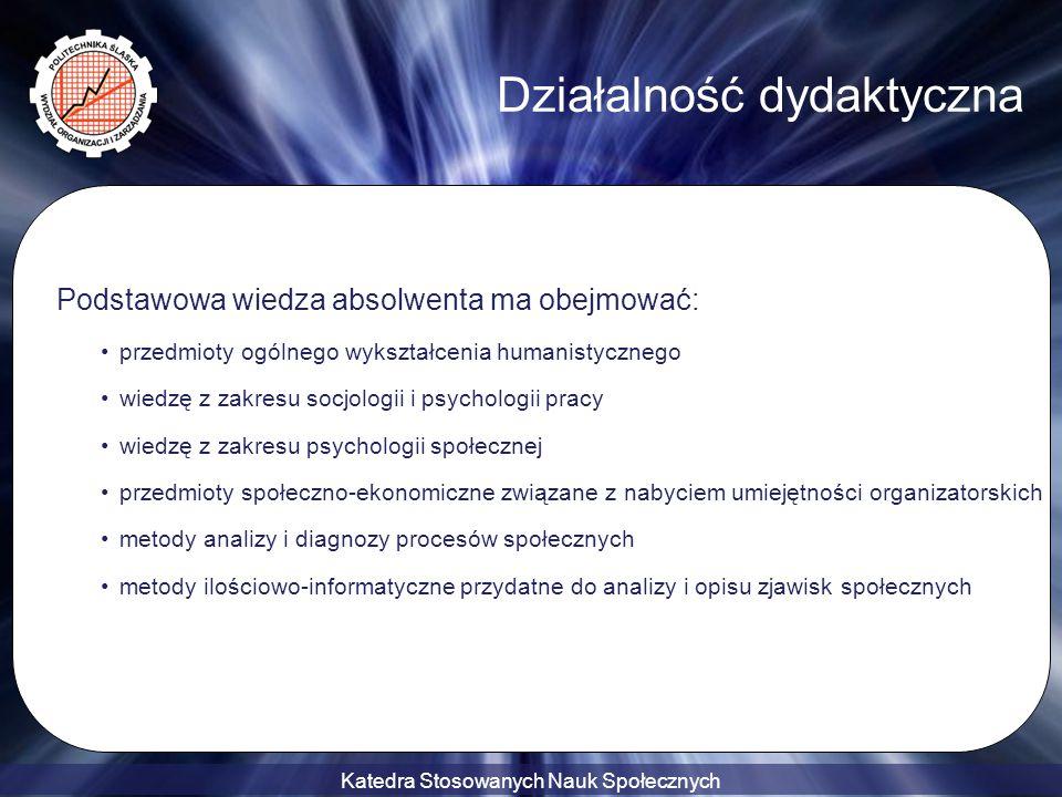 Katedra Stosowanych Nauk Społecznych Podstawowa wiedza absolwenta ma obejmować: przedmioty ogólnego wykształcenia humanistycznego wiedzę z zakresu soc