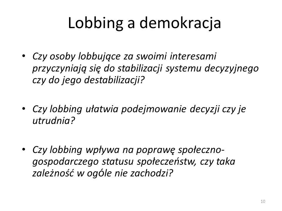 Lobbing a demokracja Czy osoby lobbujące za swoimi interesami przyczyniają się do stabilizacji systemu decyzyjnego czy do jego destabilizacji? Czy lob