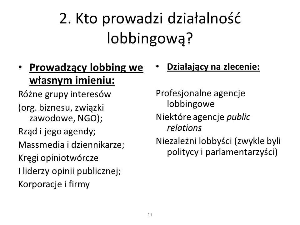 2. Kto prowadzi działalność lobbingową? Prowadzący lobbing we własnym imieniu: Różne grupy interesów (org. biznesu, związki zawodowe, NGO); Rząd i jeg