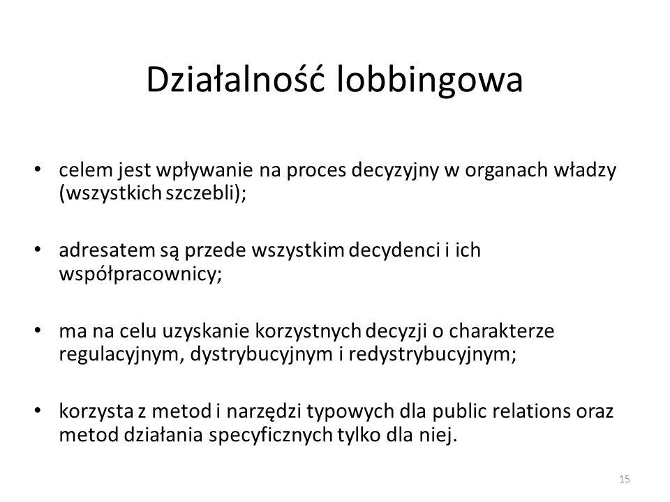 Działalność lobbingowa celem jest wpływanie na proces decyzyjny w organach władzy (wszystkich szczebli); adresatem są przede wszystkim decydenci i ich