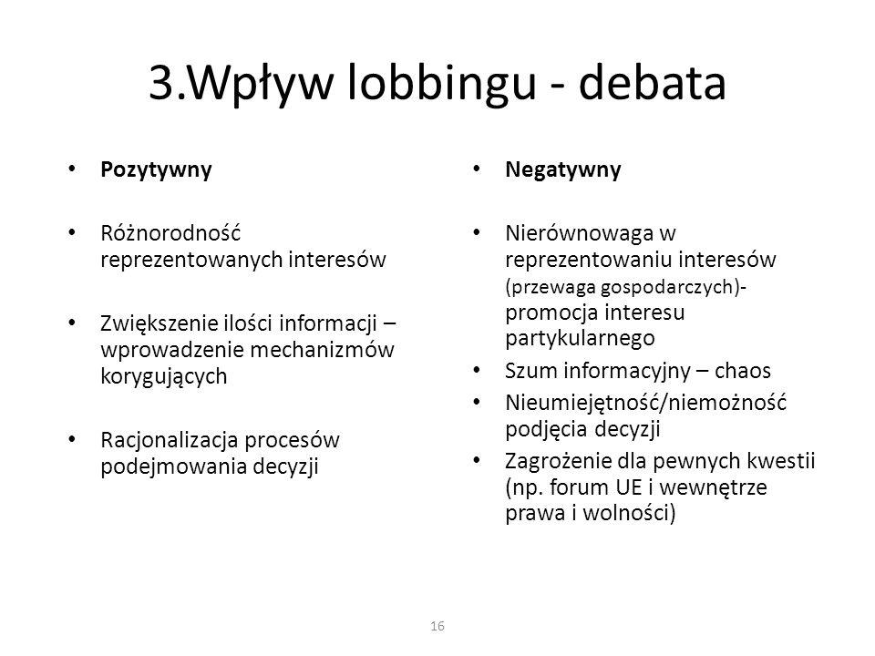 3.Wpływ lobbingu - debata Pozytywny Różnorodność reprezentowanych interesów Zwiększenie ilości informacji – wprowadzenie mechanizmów korygujących Racj