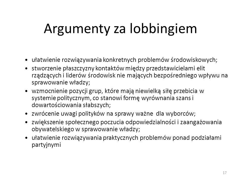 Argumenty za lobbingiem ułatwienie rozwiązywania konkretnych problemów środowiskowych; stworzenie płaszczyzny kontaktów między przedstawicielami elit