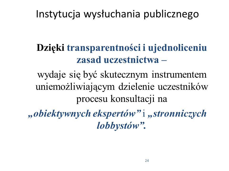 24 Instytucja wysłuchania publicznego Dzięki transparentności i ujednoliceniu zasad uczestnictwa – wydaje się być skutecznym instrumentem uniemożliwia