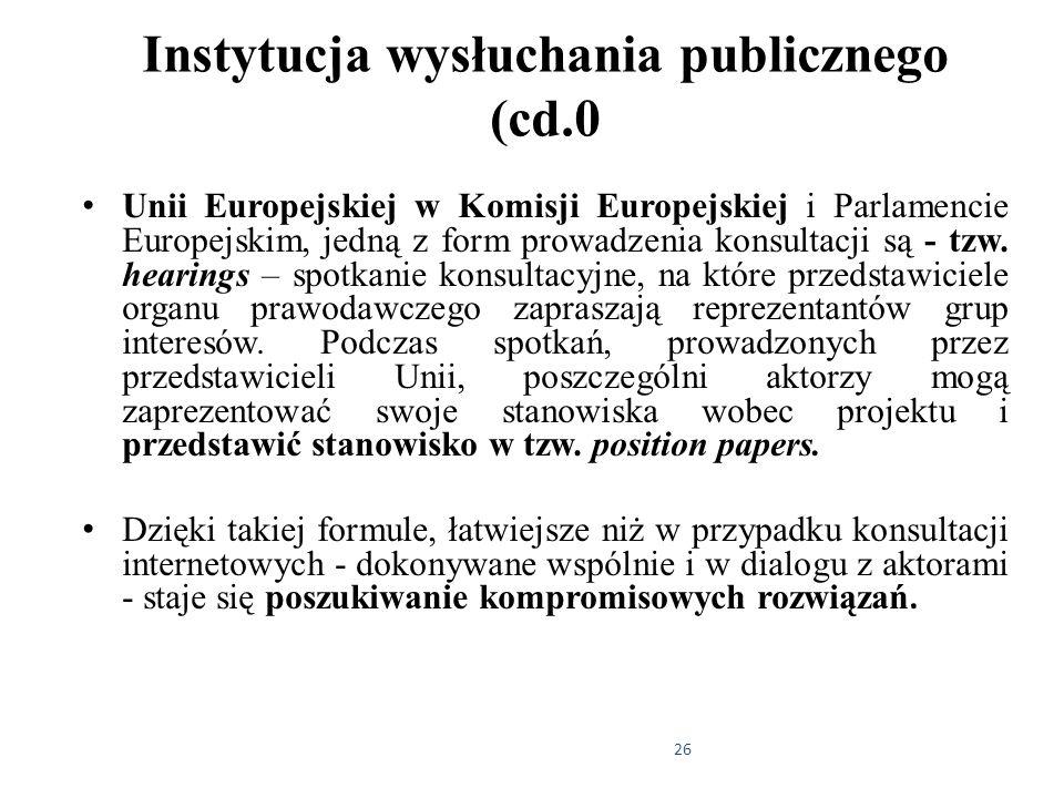 26 Instytucja wysłuchania publicznego (cd.0 Unii Europejskiej w Komisji Europejskiej i Parlamencie Europejskim, jedną z form prowadzenia konsultacji s