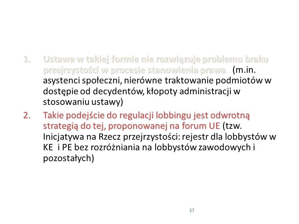 27 1.Ustawa w takiej formie nie rozwiązuje problemu braku przejrzystości w procesie stanowienia prawa 1.Ustawa w takiej formie nie rozwiązuje problemu