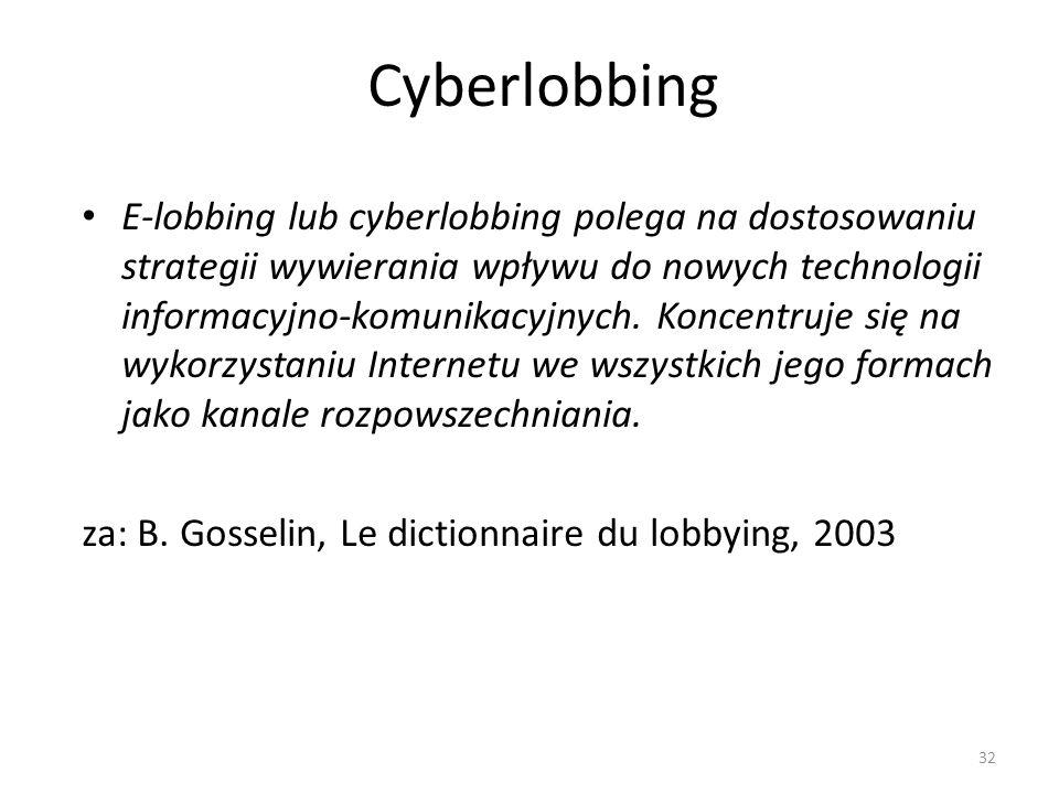 Cyberlobbing E-lobbing lub cyberlobbing polega na dostosowaniu strategii wywierania wpływu do nowych technologii informacyjno-komunikacyjnych. Koncent