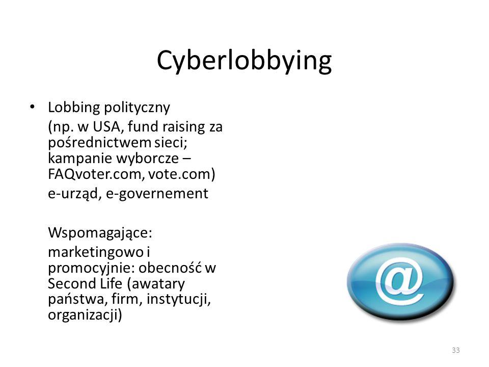 Cyberlobbying Lobbing polityczny (np. w USA, fund raising za pośrednictwem sieci; kampanie wyborcze – FAQvoter.com, vote.com) e-urząd, e-governement W