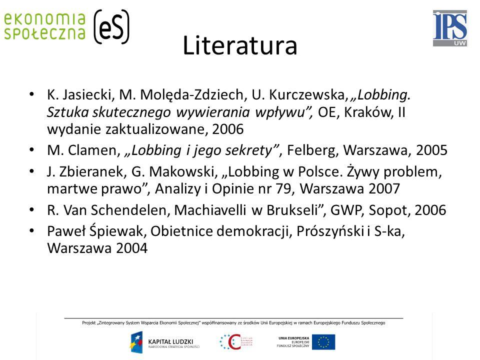 """Literatura K. Jasiecki, M. Molęda-Zdziech, U. Kurczewska, """"Lobbing. Sztuka skutecznego wywierania wpływu"""", OE, Kraków, II wydanie zaktualizowane, 2006"""