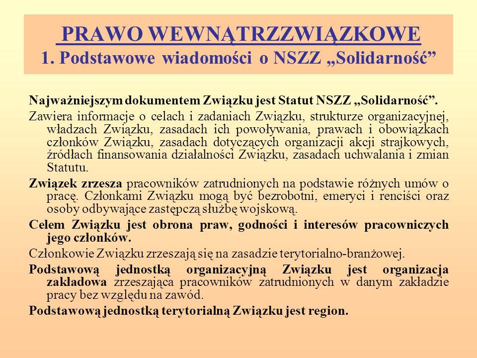 """PRAWO WEWNĄTRZZWIĄZKOWE 1. Podstawowe wiadomości o NSZZ """"Solidarność"""" Najważniejszym dokumentem Związku jest Statut NSZZ """"Solidarność"""". Zawiera inform"""