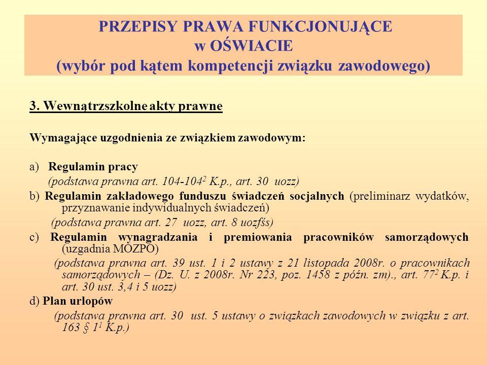 PRZEPISY PRAWA FUNKCJONUJĄCE w OŚWIACIE (wybór pod kątem kompetencji związku zawodowego) 3.