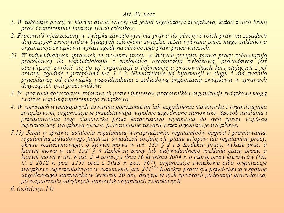 Art. 30. uozz 1. W zakładzie pracy, w którym działa więcej niż jedna organizacja związkowa, każda z nich broni praw i reprezentuje interesy swych czło