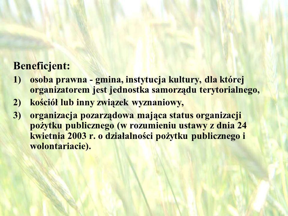 opracował: Bartłomiej Raczek12 W zakresie działania znalazły się inwestycje w zakresie: 1) budowy, przebudowy, remontu lub wyposażenia obiektów pełniących funkcje publiczne, społeczno - kulturalne, rekreacyjne i sportowe, służących promocji obszarów wiejskich, w tym propagowaniu i zachowaniu dziedzictwa historycznego, tradycji, sztuki oraz kultury, 2) kształtowania obszaru przestrzeni publicznej; 3) budowy remontu lub przebudowy infrastruktury związanej z rozwojem funkcji turystycznych, sportowych lub społeczno - kulturalnych; 4) zakupu obiektów charakterystycznych dla tradycji budownictwa w danym regionie, w tym budynków będących zabytkami, z przeznaczeniem na cele publiczne; 5) odnawiania, eksponowania lub konserwacji lokalnych pomników historycznych, budynków będących zabytkami lub miejsc pamięci; 6) kultywowania tradycji społeczności lokalnej oraz tradycyjnych zawodów.