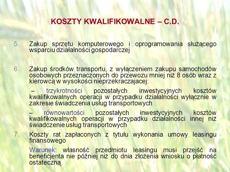 opracował: Bartłomiej Raczek26 KOSZTY KWALIFIKOWALNE – C.D.
