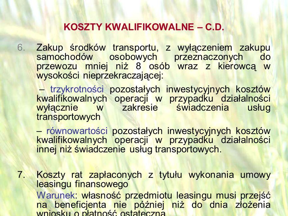 opracował: Bartłomiej Raczek37 KOSZTY KWALIFIKOWALNE – C.D.