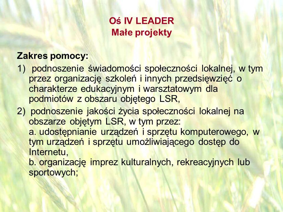 opracował: Bartłomiej Raczek41 Oś IV LEADER Małe projekty Zakres pomocy: 3) rozwijanie aktywności społeczności lokalnej, w tym przez: a.