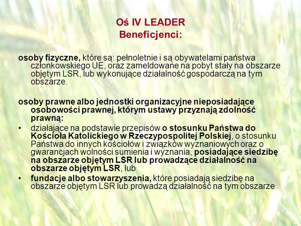 opracował: Bartłomiej Raczek45 Oś IV LEADER Poziom dofinansowania Wysokość pomocy nie może przekroczyć 70% kosztów kwalifikowanych i nie więcej niż 25 000 zł na jeden mały projekt.