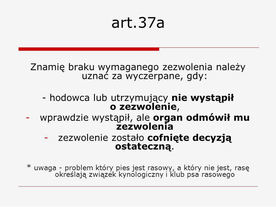 art.37a Znamię braku wymaganego zezwolenia należy uznać za wyczerpane, gdy: - hodowca lub utrzymujący nie wystąpił o zezwolenie, -wprawdzie wystąpił,