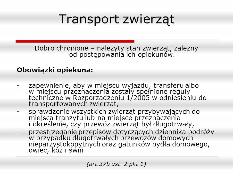 Transport zwierząt Dobro chronione – należyty stan zwierząt, zależny od postępowania ich opiekunów. Obowiązki opiekuna: -zapewnienie, aby w miejscu wy