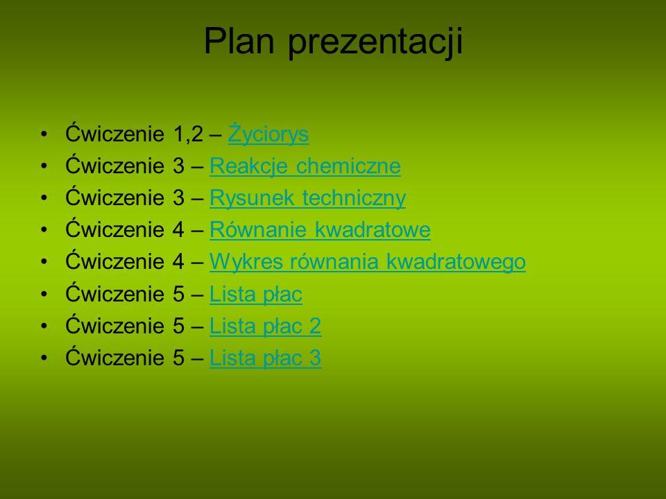Plan prezentacji Ćwiczenie 1,2 – ŻyciorysŻyciorys Ćwiczenie 3 – Reakcje chemiczneReakcje chemiczne Ćwiczenie 3 – Rysunek technicznyRysunek techniczny