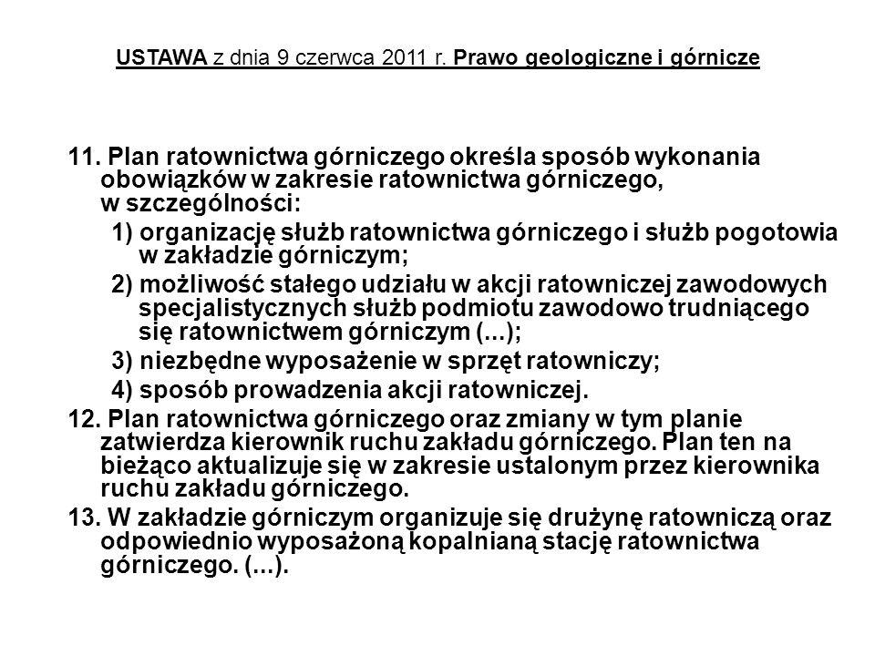 11. Plan ratownictwa górniczego określa sposób wykonania obowiązków w zakresie ratownictwa górniczego, w szczególności: 1) organizację służb ratownict