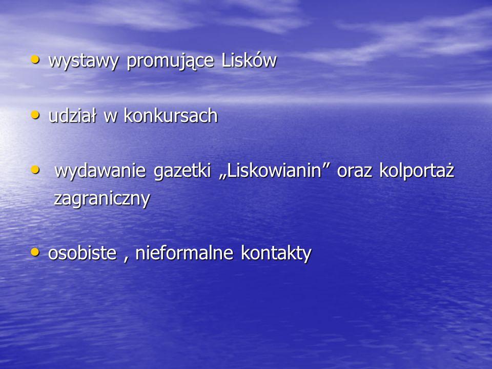 """wystawy promujące Lisków wystawy promujące Lisków udział w konkursach udział w konkursach wydawanie gazetki """"Liskowianin"""" oraz kolportaż wydawanie gaz"""
