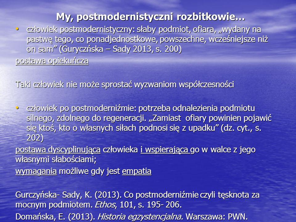 """My, postmodernistyczni rozbitkowie… człowiek postmodernistyczny: słaby podmiot, ofiara, """"wydany na pastwę tego, co ponadjednostkowe, powszechne, wcześ"""