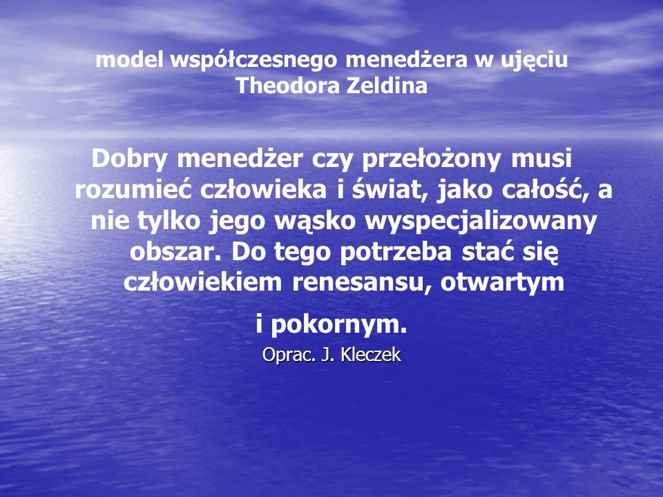 model współczesnego menedżera w ujęciu Theodora Zeldina Dobry menedżer czy przełożony musi rozumieć człowieka i świat, jako całość, a nie tylko jego w