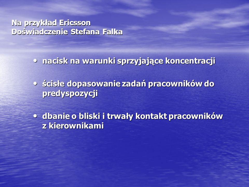 Na przykład Ericsson Doświadczenie Stefana Falka nacisk na warunki sprzyjające koncentracji nacisk na warunki sprzyjające koncentracji ścisłe dopasowa