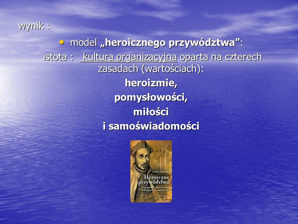 """wynik : model """"heroicznego przywództwa"""": model """"heroicznego przywództwa"""": istota : kultura organizacyjna oparta na czterech zasadach (wartościach): is"""