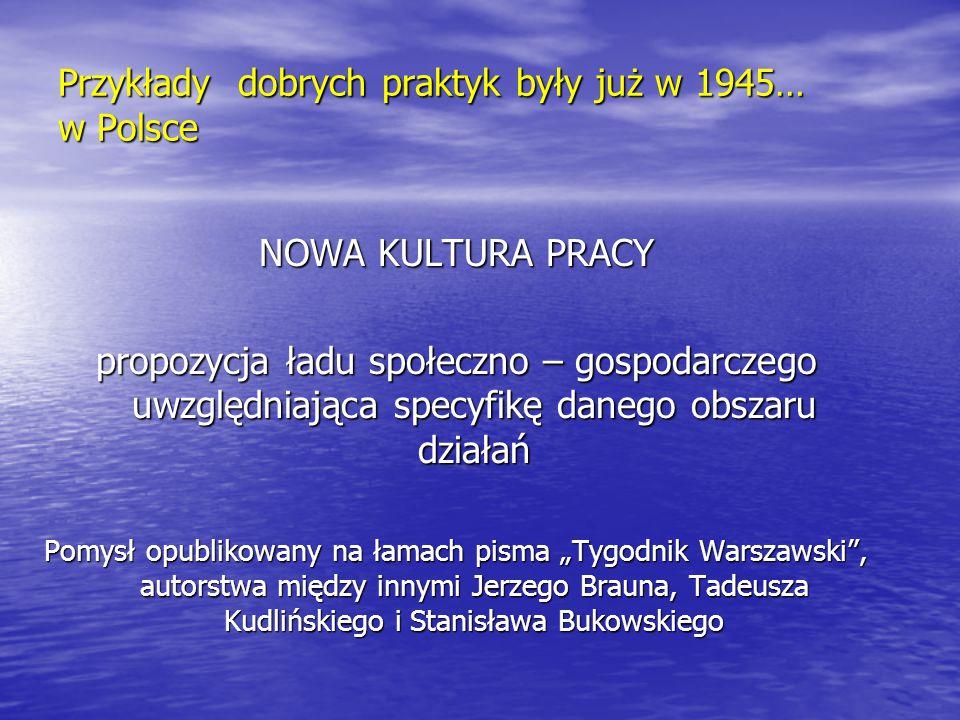 Przykłady dobrych praktyk były już w 1945… w Polsce NOWA KULTURA PRACY propozycja ładu społeczno – gospodarczego uwzględniająca specyfikę danego obsza