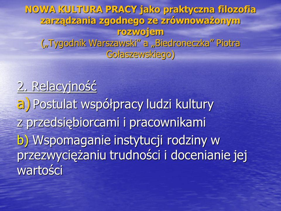 """NOWA KULTURA PRACY jako praktyczna filozofia zarządzania zgodnego ze zrównoważonym rozwojem (""""Tygodnik Warszawski"""" a """"Biedroneczka"""" Piotra Gołaszewski"""